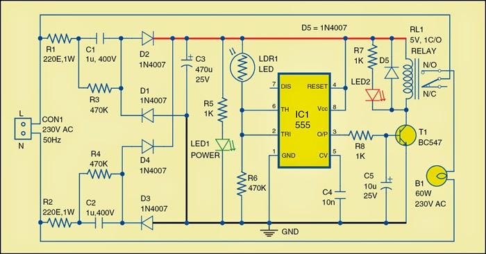 Automatic Evening Lamp Circuit Diagram