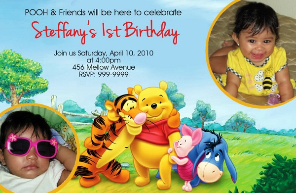 First birthday invitation cards for baby boy girl romantic love winnie the pooh baby 1st birthday invitations filmwisefo