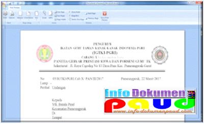 Contoh Berkas Surat Undangan Resmi Untuk Sekolah PAUD