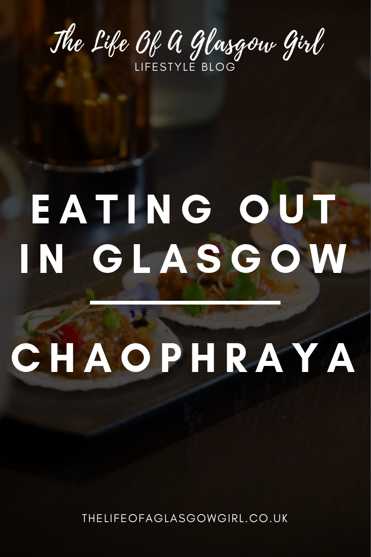 pinterest graphic for blog post about Chaophraya - A close up of three thai dishes on a table.