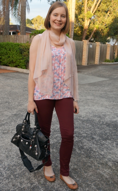 burgundy skinny pants pastel printed tank and shimmer scarf black bag | away from blue