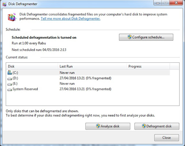 Cara defragmentasi Hardisk di windows 7