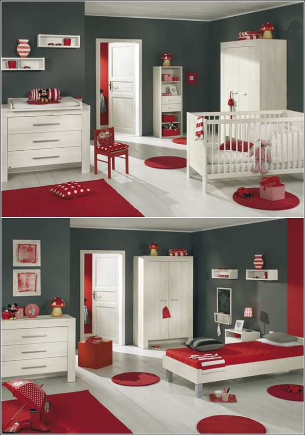 stunning chambre mur rouge et gris with mur gris et rouge. Black Bedroom Furniture Sets. Home Design Ideas