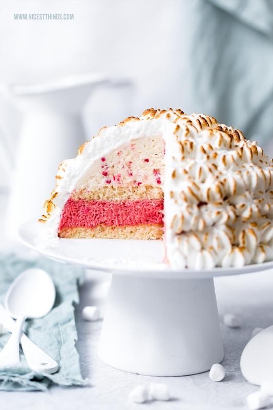 Marshmallow Eiscreme Rezept für Baked Alaska Eisbombe