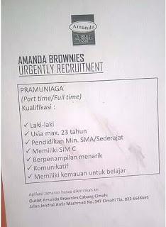 Lowongan Kerja Brownies Amanda Terupdate 2019