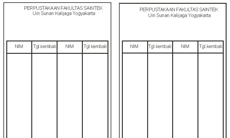 Contoh Bentuk Format Kartu Punggung Buku pada Administrasi Perpustakaan Sekolah (Template Siap Edit - Print)