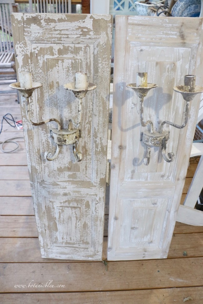 French wood panel sconce before makeover