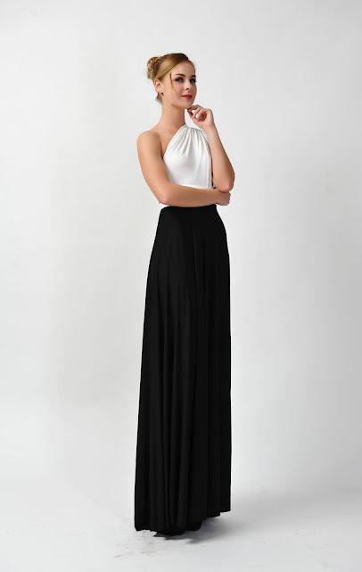 BLACK WHITE DRESS CONVERTIBLE