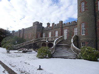 stunning medieval castle stobo with snow on ground