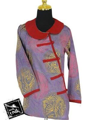 Model Baju Batik Kancing Samping untuk Kerja