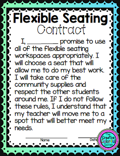 Flexible Seating Contract: I promise to use all of the flexible seating workspaces appropriately. I will choose a seat that will allow me to do my best work. I will take care of the community supplies and respect the other students around me. If I do not follow these rules, I understand that my teacher will move me to a spot that will better meet my needs.