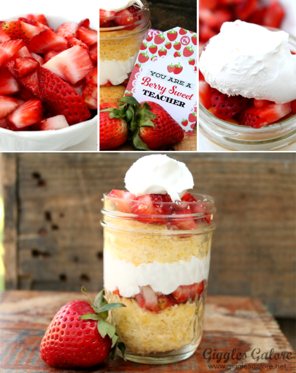 Strawberry Shortcake in a Jar Recipe - via BirdsParty.com