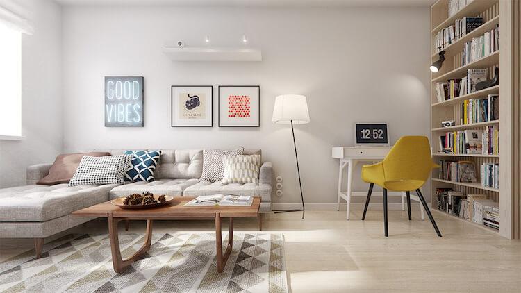 Reforma de un pequeño apartamento, salón con motivos geométricos