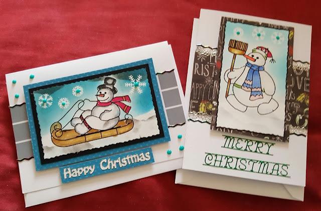 """Snowmen (2) 5"""" x 7"""" white Christmas cards"""