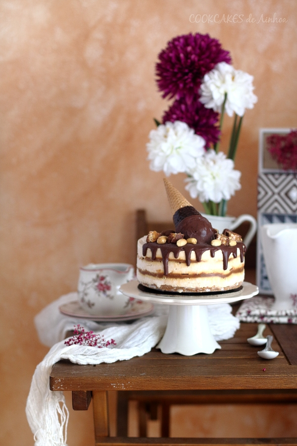 Tarta Snickers con Helado de Mantequilla de Cacahuete - Cookcakes de Ainhoa