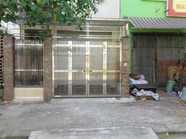 cổng inox 4 cánh đẹp - mẫu 6