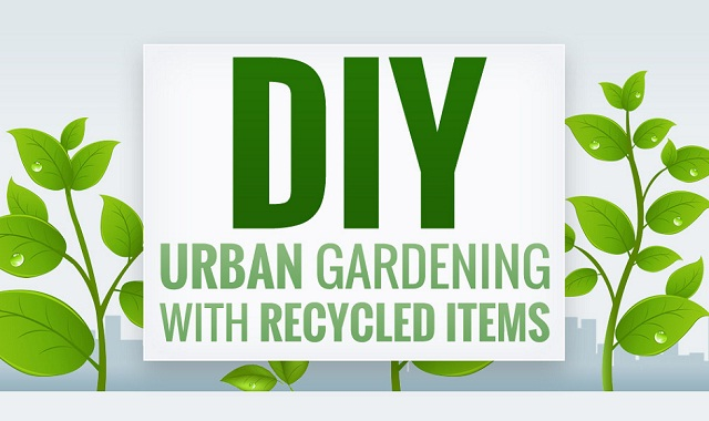Image: DIY Urban Gardening with Recycled Items #infographic