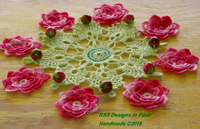 Pink 3D Rose Beaded Cluny Lace Doily - Handmade Crochet By Ruth Sandra Sperling of RSS Designs In Fiber