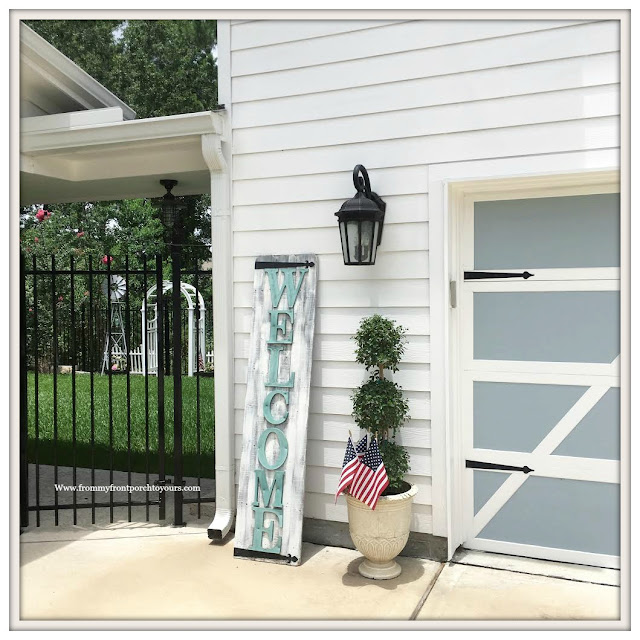 Patriotic Home Decor-4th of July-Welcome-Sign-Topiary- Front Porch-From My Front Porch To Yours