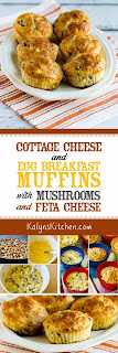 Cottage Cheese and Egg Breakfast Muffins with Mushrooms and Feta Cheese [found on KalynsKitchen.com]