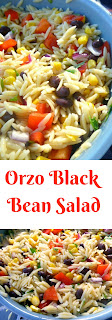 Orzo Black Bean Salad:  Imagine tender, earthy black beans tossed with al dente orzo pasta and fresh vegetables and then doused with a fresh spicy lime dressing!  Heaven!  - Slice of Southern
