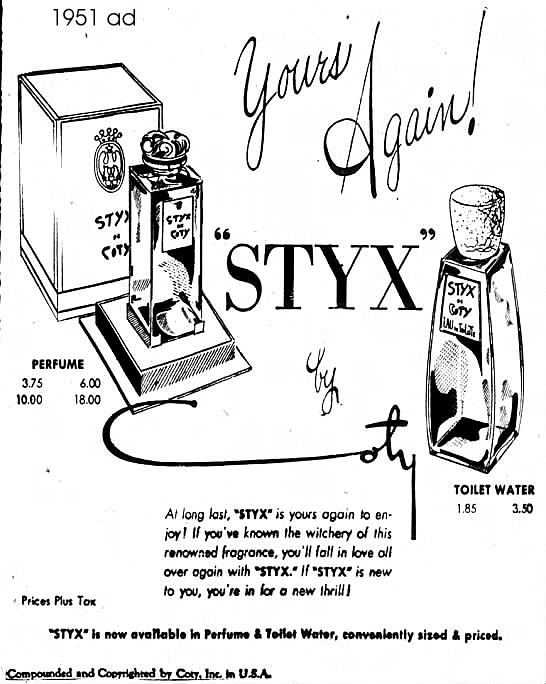 Coty Perfumes: Styx by Coty c1912