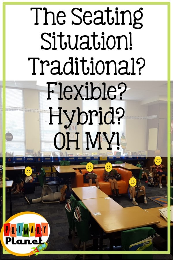 Flexible seating?  Traditional Seating in the classroom?  Let me offer you my compromise: hybrid seating.  All the flexibility of classroom seating, but with kiddos all having their own personal space!