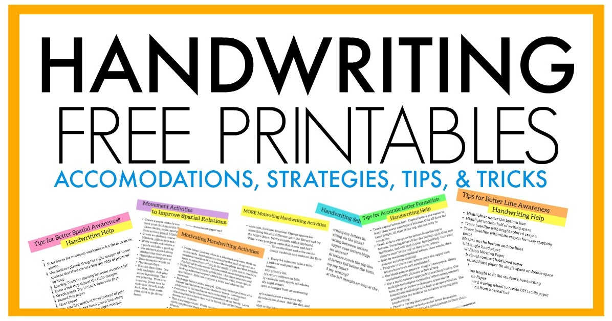 Free Handwriting Tips And Tricks Printables The Ot Toolbox