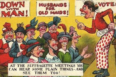 Carteles antiguos contra el sufragio femenino