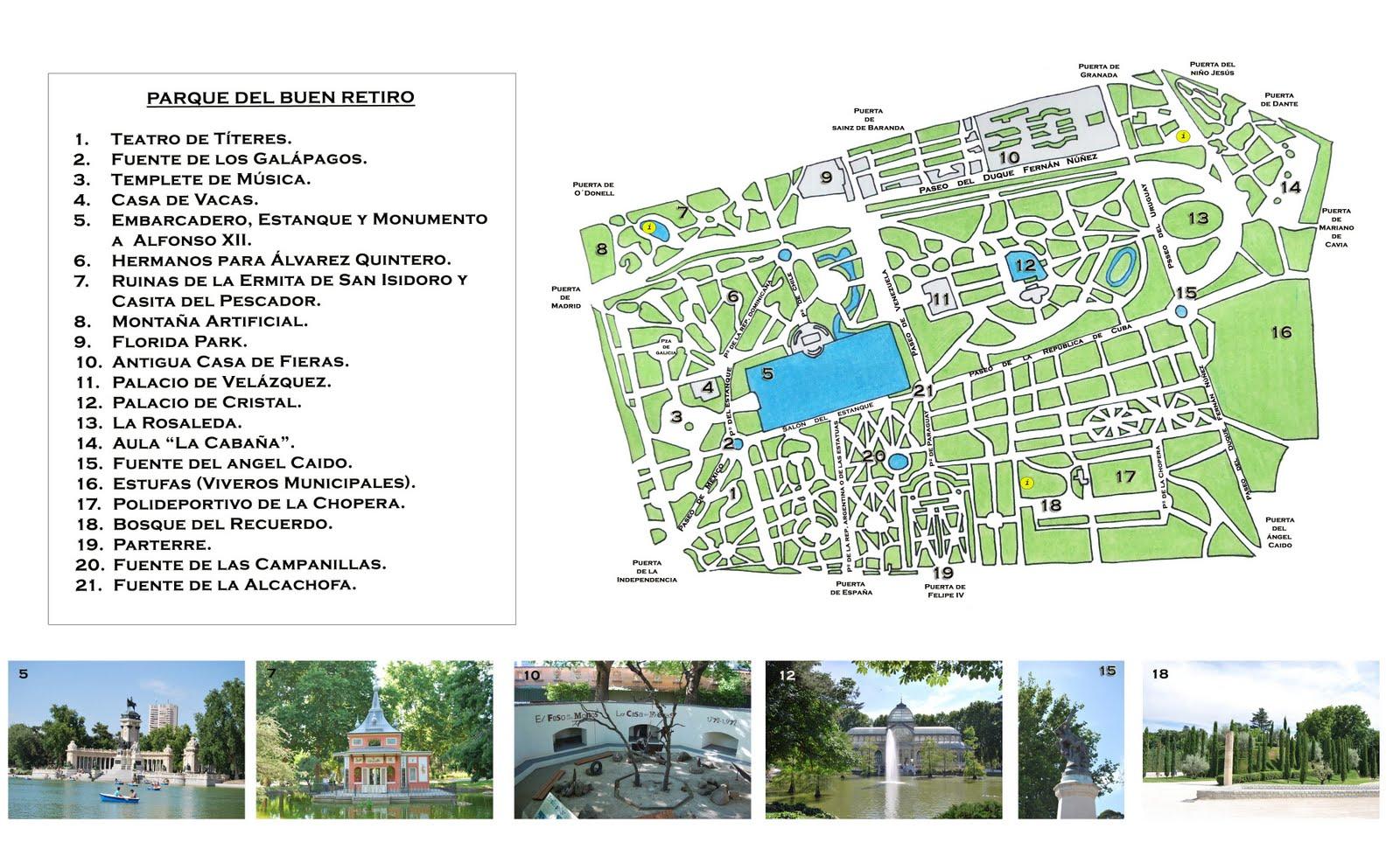 Plano Parque Del Retiro Mapa.El Parque Del Retiro De Madrid