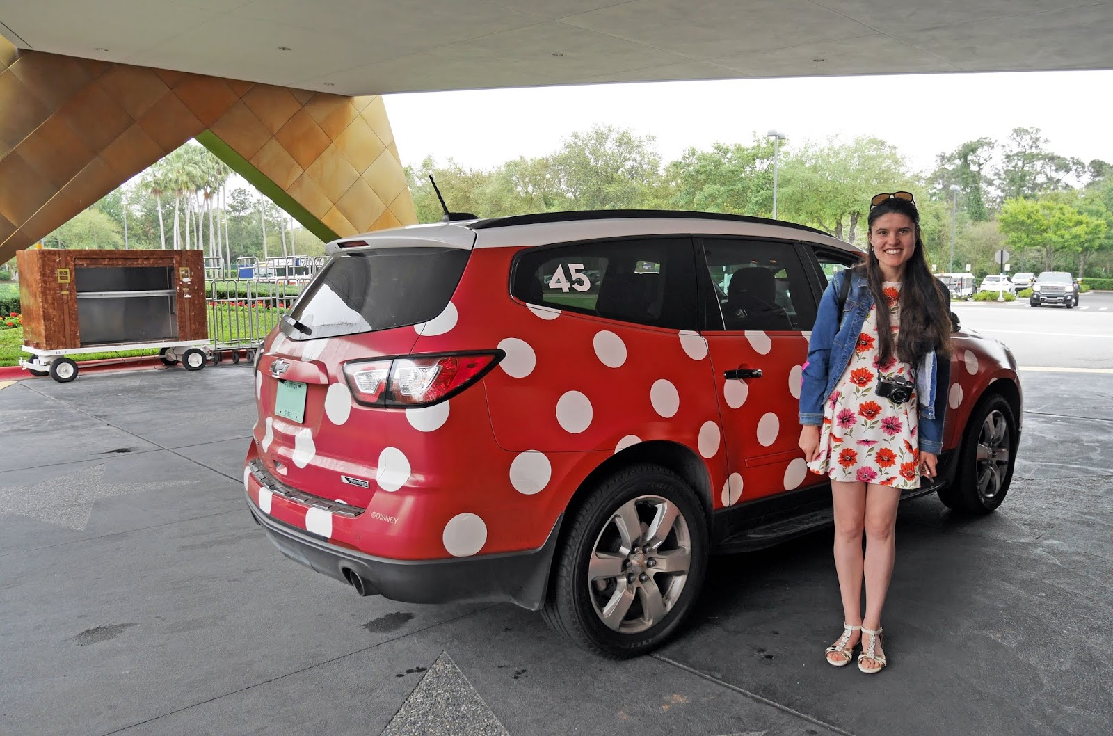 Kat Last next to one of the Walt Disney World Minnie Vans, Florida