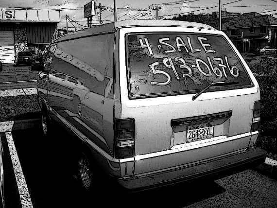 ink-drawing style photo of the back of a used van for sale