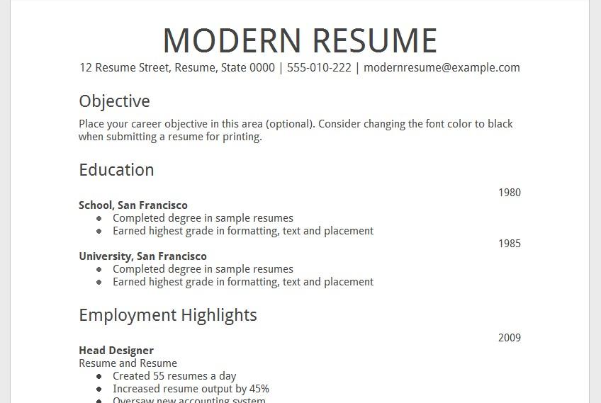 google docs resume templates free