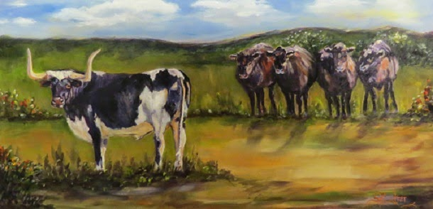 Just Call Me Lucky! Texas longhorn bull with four heifers, oils on canvas ***SOLD!
