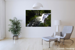 Photograph of Cramer Imaging's fine art photograph 'Upper Mesa Falls' on the wall of a sitting room