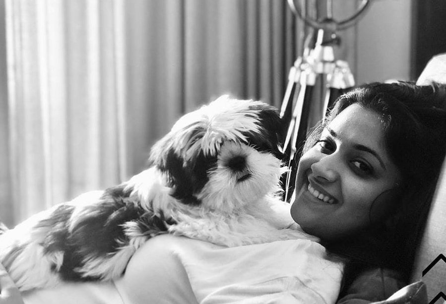 Keerthy Suresh with Cute and Lovely Smile with her Cute Dog Nyke at her Home Selfie