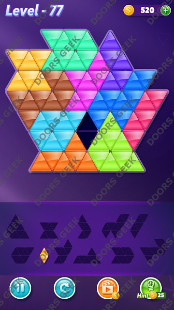 Block! Triangle Puzzle Challenger Level 77 Solution, Cheats, Walkthrough for Android, iPhone, iPad and iPod