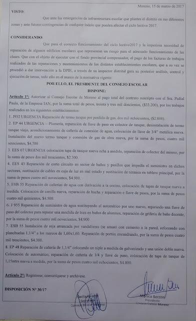 Disposición 30/2017: Autorización de pago de $33.200 al proveedor IAN de Padial Paula, por trabajos realizados en los establecimientos con código JI932, EP44, ES07, ES43, SB55, JI955, SB55, EP48.