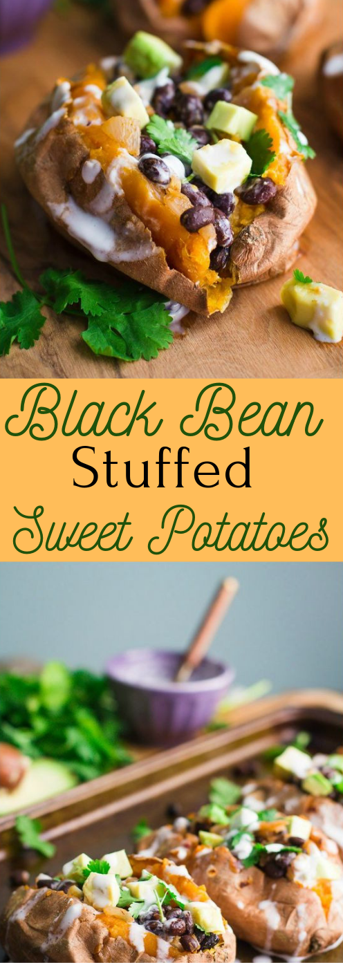BLACK BEAN STUFFED SWEET POTATOES #dinner #potatoes