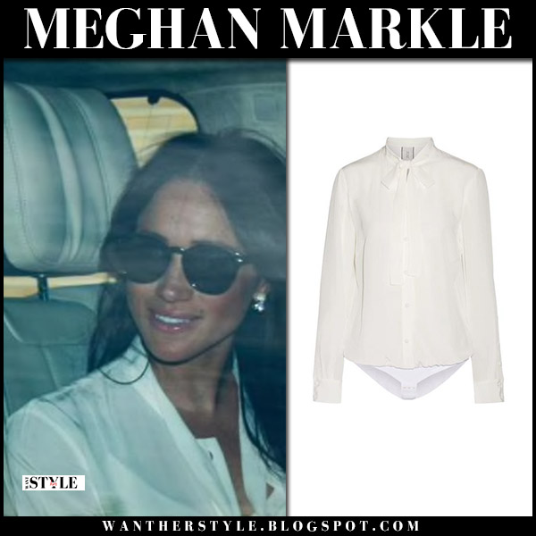 Meghan Markle in white shirt and sunglasses ray-ban royal family casual style may 17