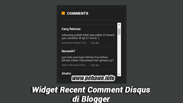 Widget Recent Comment Disqus Responsive di Blog