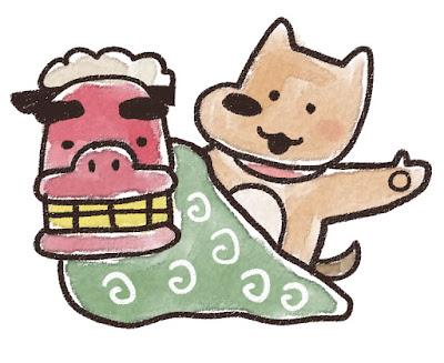 獅子舞と犬のイラスト(戌年)