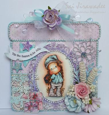 Magnolia Lace Hood Tilda Pastel Present Shaped Card