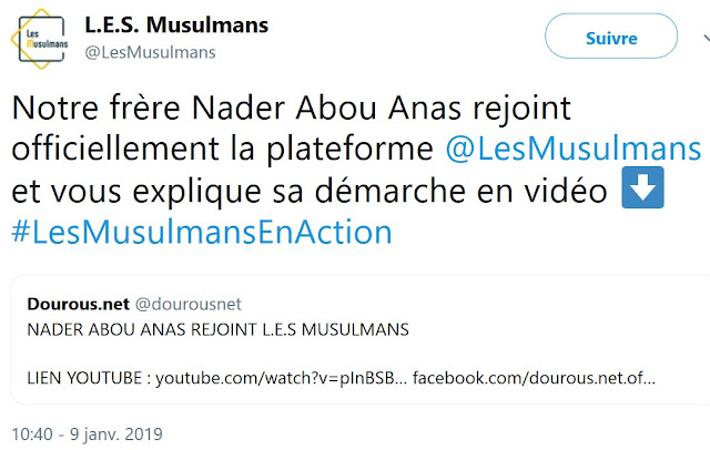 L.e.s Musulmans accueille le salafiste Nader Abou Anas