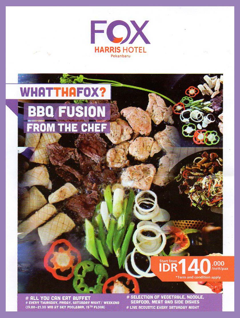 Nikmati Barbeque Fusion di Fox Harris Hotel Pekanbaru, alamat fox harris hotel, menu dan harga barbeque di Pekanbaru, tempat ngobrol di Pekanbaru