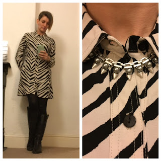 Topshop zebra print dress and spikey Stella and Dot Lynx necklace