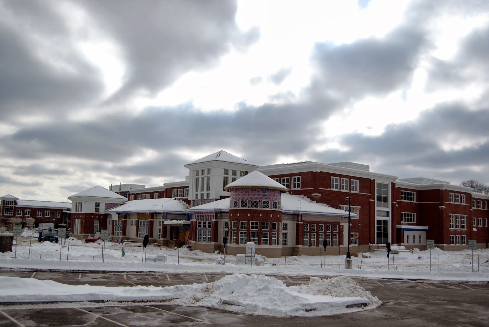 FHS under construction in he snow in 2012