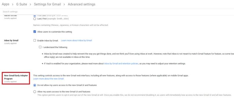 في User Settings اعدادات المستخدم ' ، مرر لأسفل إلى برنامج Adwords Early Newopter الجديد