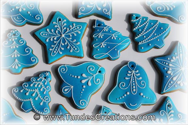 Blue Christmas ornaments by Tunde Dugantsi