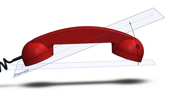 detalle de plano inclinado para modelar auricular con solidworks